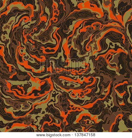 pattern with the image texture of smoke brown, orange and ocher shades. Vector