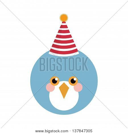 Cute blue bird with party hat isolated vector illustration
