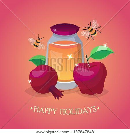 Jewish holiday Rosh Hashana (New Year) greeting card design
