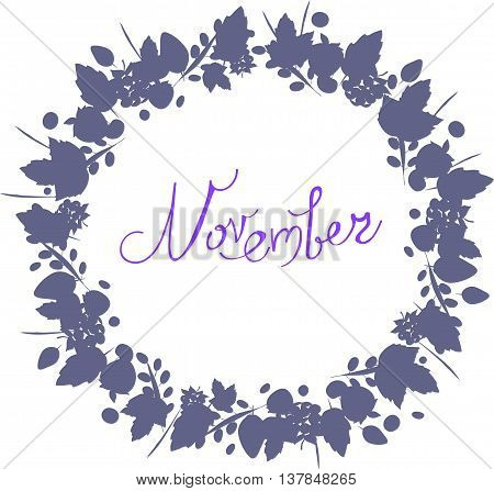 November lettering in a frame of leaves, autumn elements and templates gray blue color on white background. hipster background. Autumn template.