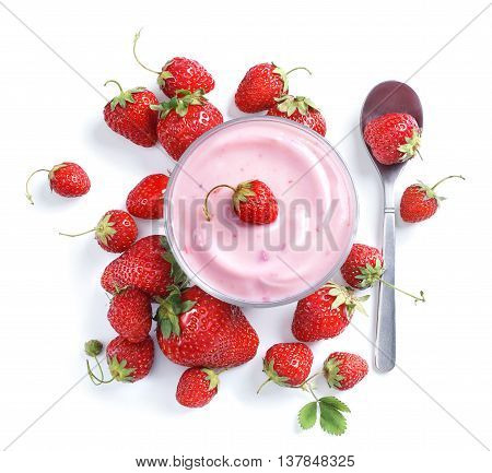 Yogurt with fresh strawberry isolated on white background. Top view high resolution product.