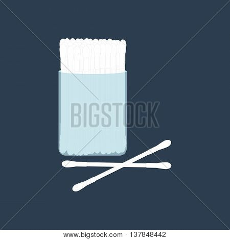Cotton buds for adults. Ear hygiene. Vector illustration