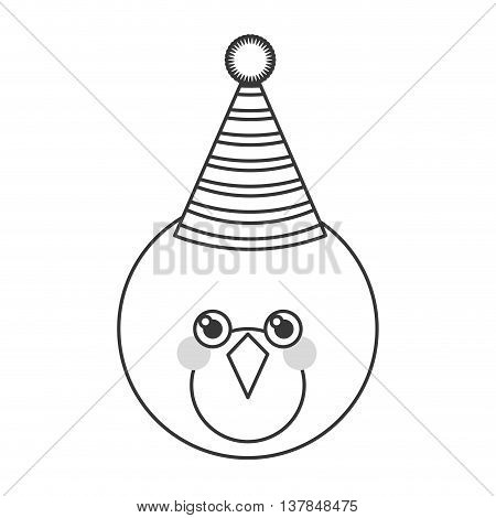 Cute bird with party hat isolated vector illustration