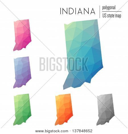 Set Of Vector Polygonal Indiana Maps. Bright Gradient Map Of The Us State In Low Poly Style. Multico