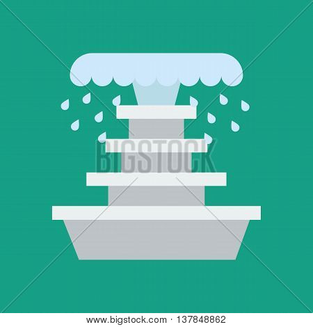 Fountain illustration vector on the green background. Vector illustration