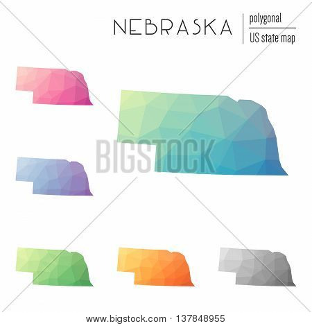 Set Of Vector Polygonal Nebraska Maps. Bright Gradient Map Of The Us State In Low Poly Style. Multic