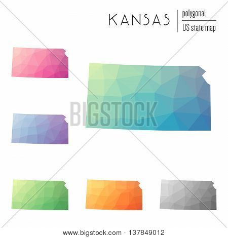 Set Of Vector Polygonal Kansas Maps. Bright Gradient Map Of The Us State In Low Poly Style. Multicol