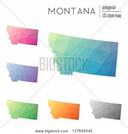 Set Of Vector Polygonal Montana Maps. Bright Gradient Map Of The Us State In Low Poly Style. Multico