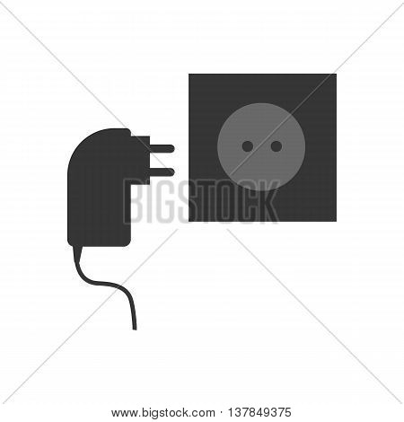 Power cable and power socket on the white background. Vector illustration