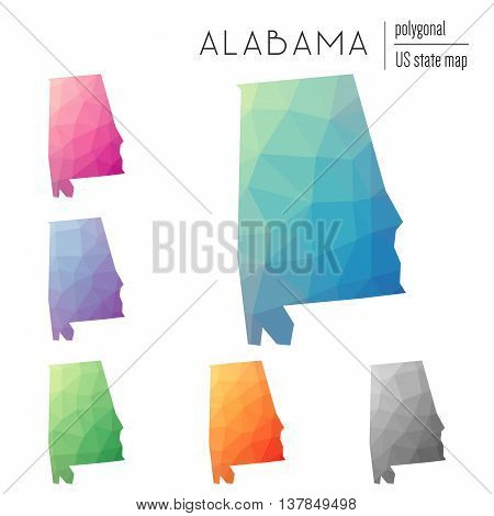 Set Of Vector Polygonal Alabama Maps. Bright Gradient Map Of The Us State In Low Poly Style. Multico