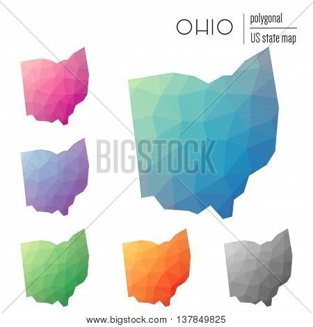 Set Of Vector Polygonal Ohio Maps. Bright Gradient Map Of The Us State In Low Poly Style. Multicolor