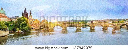 Panorama view to Charles Bridge Vltava river Old Town Prague Czech Republic. Photo stylized illustration