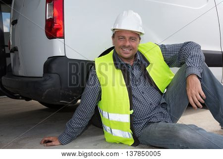 Engineer Builder Relaxing At A Construction Site