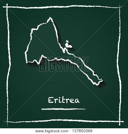 Eritrea Outline Vector Map Hand Drawn With Chalk On A Green Blackboard. Chalkboard Scribble In Child