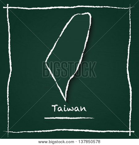 Taiwan, Republic Of China Outline Vector Map Hand Drawn With Chalk On A Green Blackboard. Chalkboard
