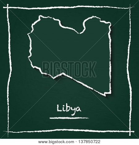 Libya Outline Vector Map Hand Drawn With Chalk On A Green Blackboard. Chalkboard Scribble In Childis