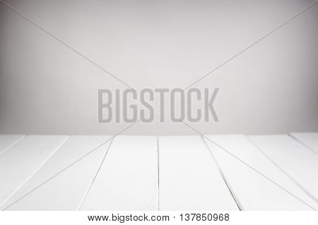 Empty white wooden table product display montage