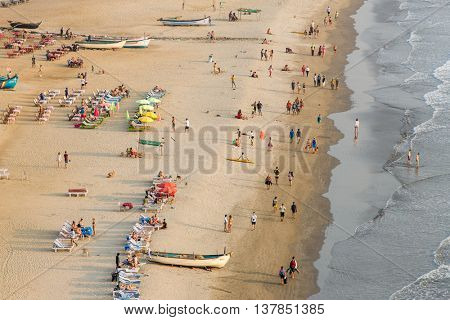 Arambol, India - February 2, 2016: Aerial view of Arambol beach in Goa state, India