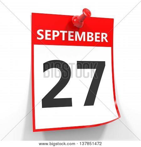 27 September Calendar Sheet With Red Pin.
