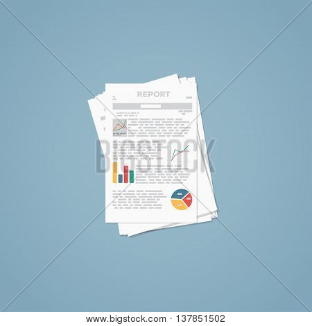 Flat illustration. Business report paper documents and sheets.