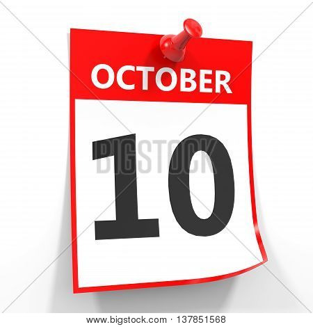 10 October Calendar Sheet With Red Pin.