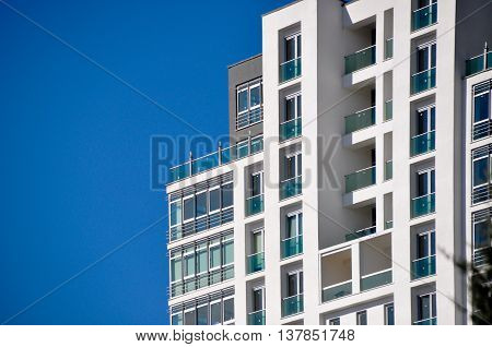 Contemporary, modern, safe high houses and blue sky