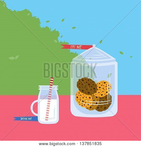 Cookies and milk Vector illustration Jar with different cookies and glass of milk Flat design
