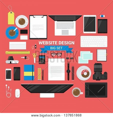 Set of flat stylish business objects for website header design