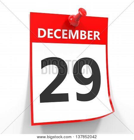 29 December Calendar Sheet With Red Pin.