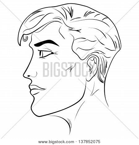 Outline side profile of a human male head face close-up black and white vector illustration man face pattern