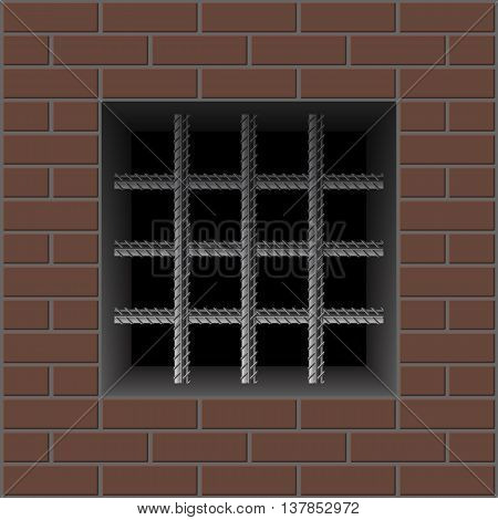 Prison brick wall and window with iron bars reinforced. Vector illustration on a dark background.