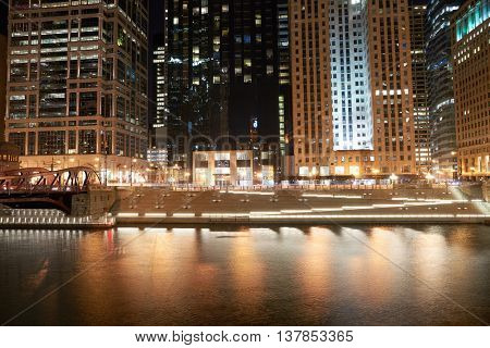 CHICAGO, IL - CIRCA MARCH, 2016: Chicago at night time. Chicago is the third most populous city in the United States