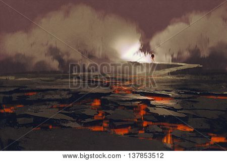 cracks in the ground with magmaman walking on the rock bridge with smoke, volcanic landscape, illustration painting