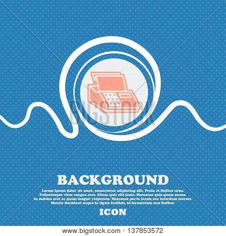 Cash Register Machine Sign Icon. Blue And White Abstract Background Flecked With Space For Text And