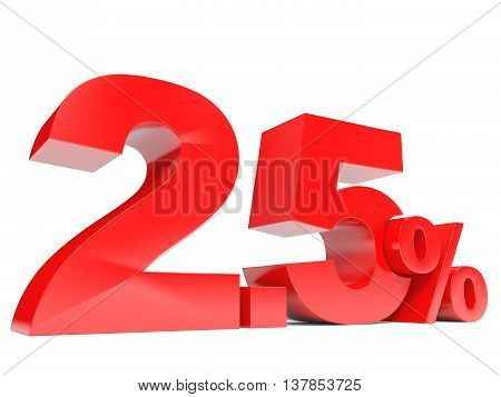 Red Twopoint Five Percent Off. Discount 2.5 Percent.