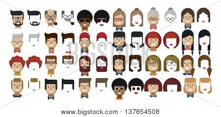 Stock vector illustration set avatars female faces, male faces, design elements, African Americans, Caucasians, red hair, freckles, Womens hairstyles, Mens hairstyles, beard, hipsters flat style