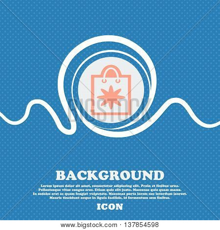 Shopping Bag Sign Icon. Blue And White Abstract Background Flecked With Space For Text And Your Desi