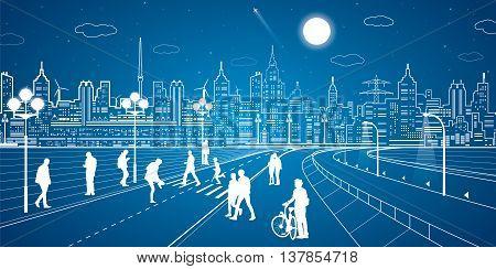 City scene, people walk on the street, city's skyline on background, street life, neon town, vector design art