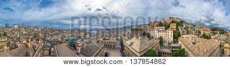 Highly detailed Genoa scenic panorama Ligurian coast Italy