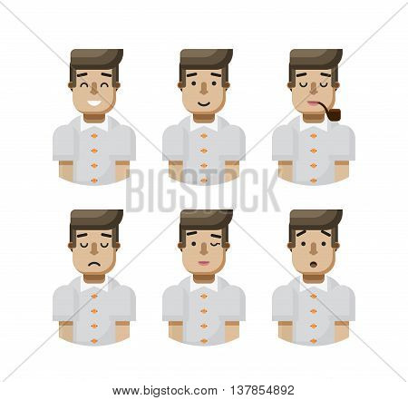 Stock vector illustration set male avatar, avatar with wide smile, male avatar with slight smile, avatar with pipe in mouth, upset avatar, avatar winks, avatar surprised, Emoji, black hair flat-style
