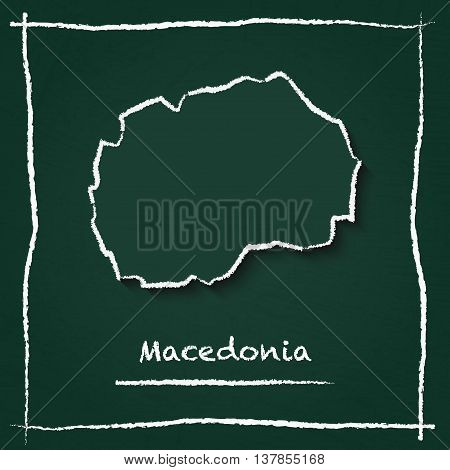 Macedonia, The Former Yugoslav Republic Of Outline Vector Map Hand Drawn With Chalk On A Green Black