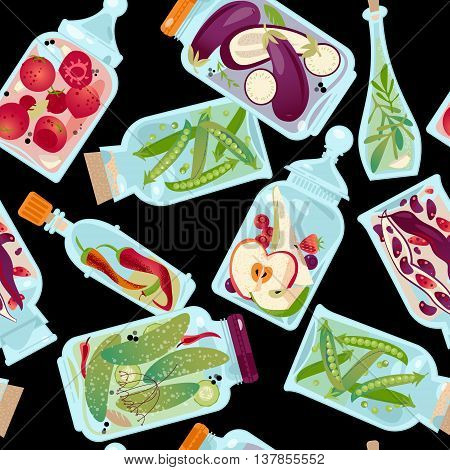 Different glass jars with preserved vegetables and fruit. Seamless background pattern. Vector illustration