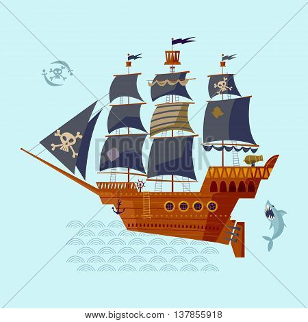 Pirate Ship and shark. Nautical Collection. Vector illustration