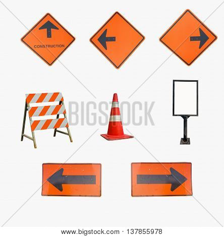 Close up under construction sign on white background.