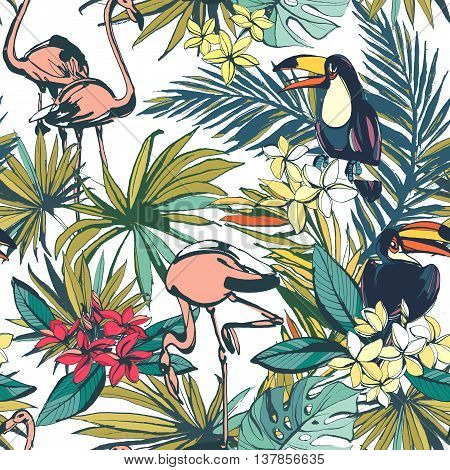 Vector illustration Tropical floral summer seamless pattern with palm beach leaves, tropical flowers, flamingo and toucan birds.