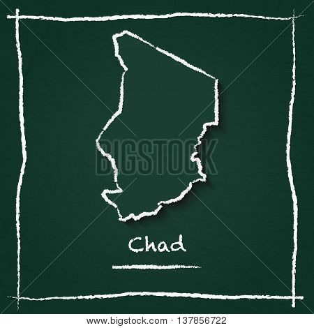 Chad Outline Vector Map Hand Drawn With Chalk On A Green Blackboard. Chalkboard Scribble In Childish