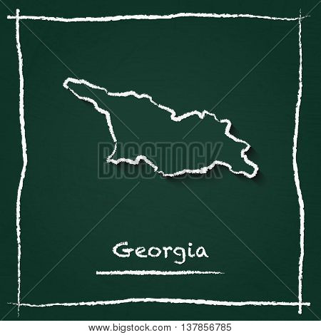 Georgia Outline Vector Map Hand Drawn With Chalk On A Green Blackboard. Chalkboard Scribble In Child