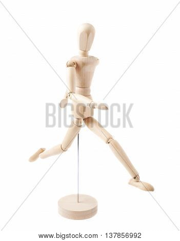 Made of wood human doll puppet statuette running, composition isolated over the white background