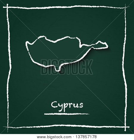 Cyprus Outline Vector Map Hand Drawn With Chalk On A Green Blackboard. Chalkboard Scribble In Childi