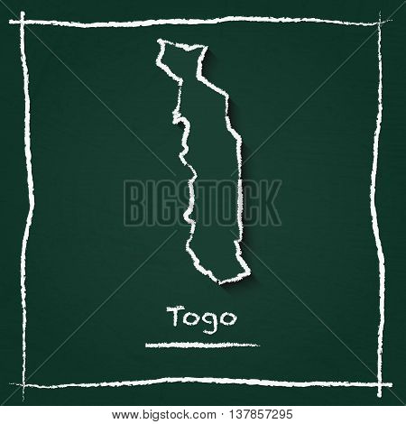 Togo Outline Vector Map Hand Drawn With Chalk On A Green Blackboard. Chalkboard Scribble In Childish